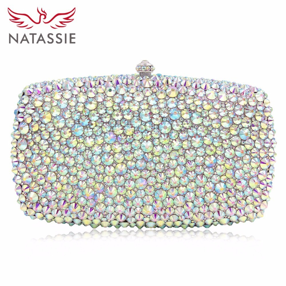 NATASSIE Women Wedding Bag Luxury Crystal Clutch Evening Bags Female Clutches Ladies Party Purse With Long Chain
