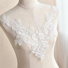 V-neckline lace patch wedding dress costume skirt fairy skirt front chest back manual DIY flower material v neckline eyelet lace up front dress