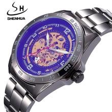 Relogio Masculino SHENHUA Men Watches Black Automatic Self-winding Mechanical Wrist Watches For Men Fashion Skeleton Watches Men
