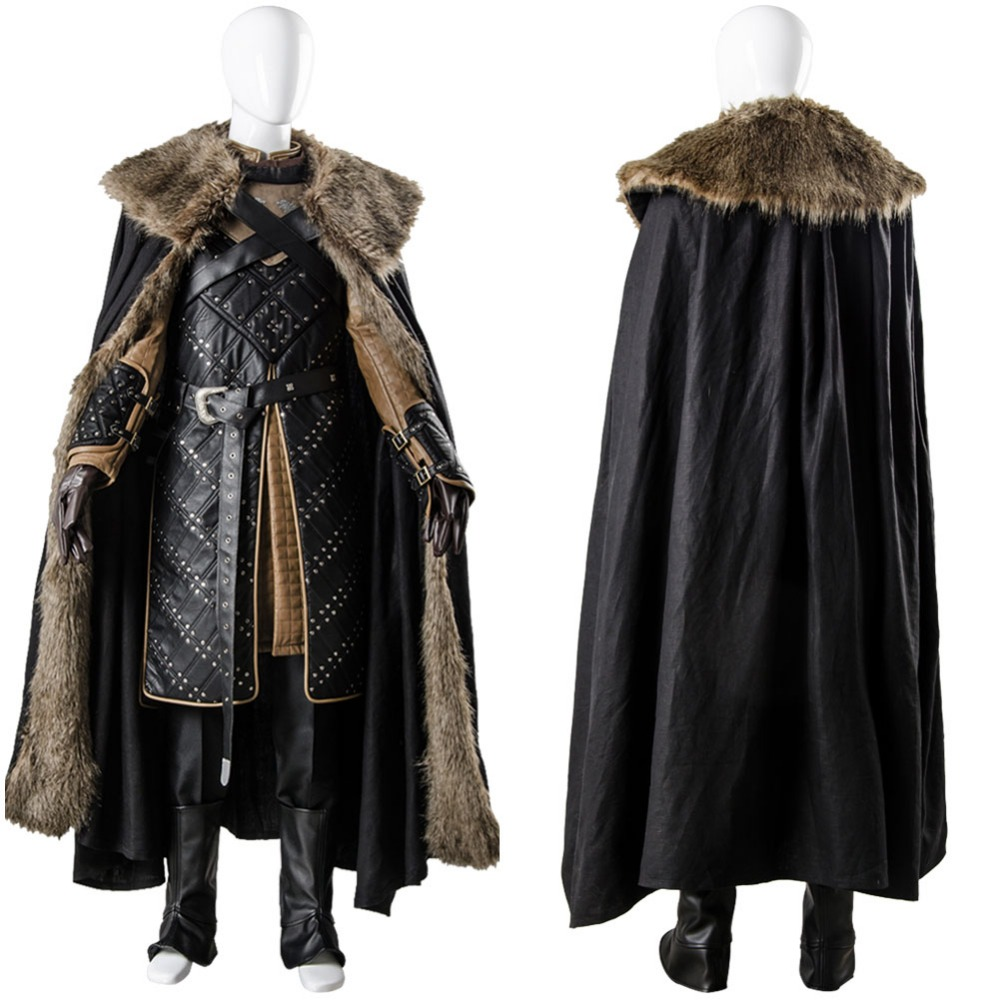 GoT 7 Game of Thrones Cosplay Season 7 Jon Snow Costume Long Coat Cape Outfit Full Sets Cosplay Costume Custom Made