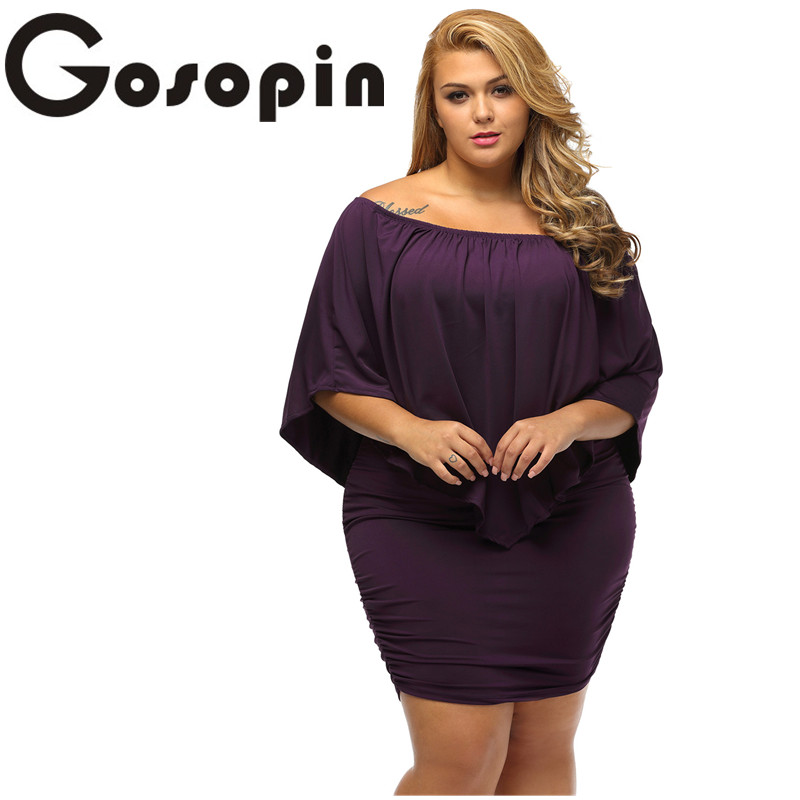 Gosopin Off Shoulder Dresses Plus Size Multiple Dressing Layered Sexy Black Mini Dress Vestido Casual Big Women Clothes  LC22820 1
