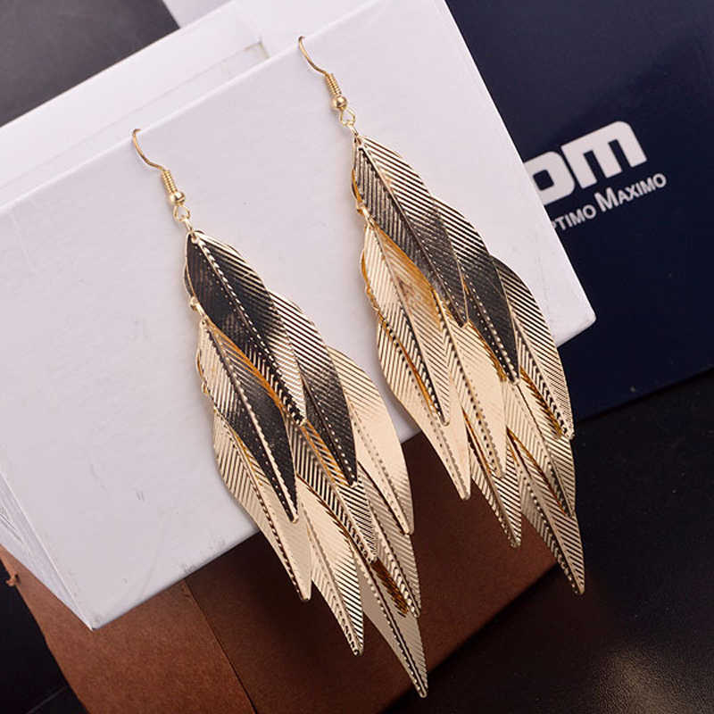 India Baroque Vintage Multi layer Leaf Drop Long Earrings Willow Fringed Tassel Gold Silver Earrings for woman Fashion Jewelry