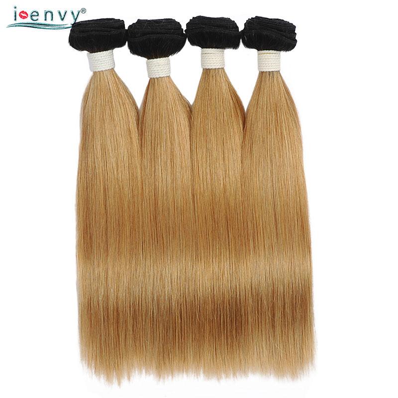 Ienvy Ombre Blonde brésilienne cheveux raides 1B/27 cheveux humains armure faisceaux offres deux tons trame de cheveux 1 pièce 14-32 pouces Non Remy