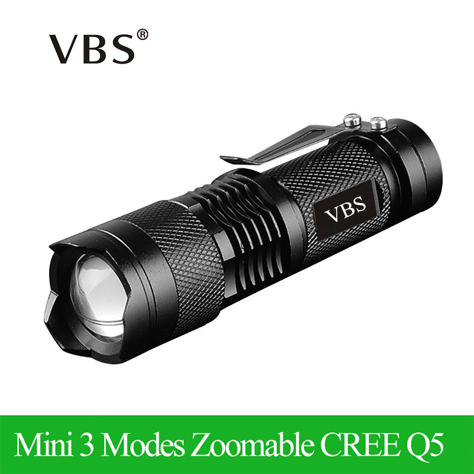 Vedenpitävä Q5 LED-taskulamppu High Power 2000LM Mini Spot Lamp Kannettava linterna 3 -tilat Zoomable Camping Equipment Torch zaklamp