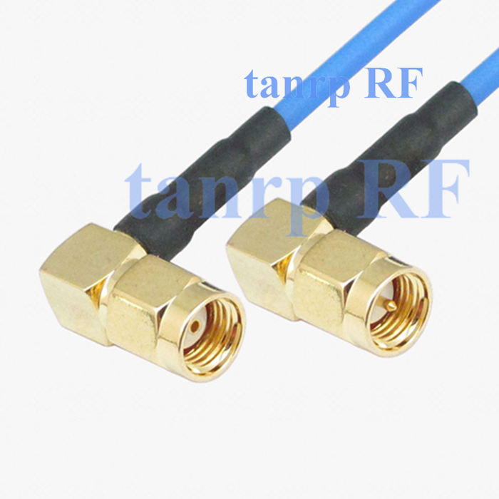 15CM coaxial Sexi Flexible blue jumper extension cable RG405 6in RP SMA male to SMA male both right angle RF 3G 4G router WIFI