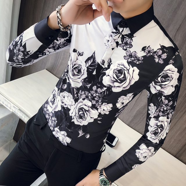 품질 한국 턱시도 셔츠 남성 긴 소매 슬림 맞는 인쇄 남자의 사회 셔츠 캐주얼 나이트 클럽 가수 무대 의상 블라우스 3xl
