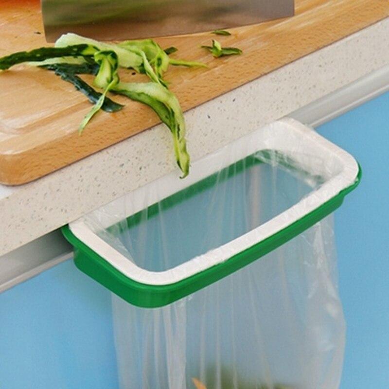 new arrival green color trash garbage bag rack attach holder over cabinet cupboard door kitchen bathroom