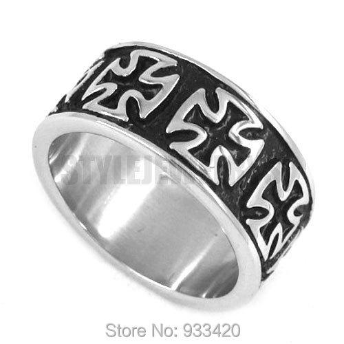 world war ii german army iron cross ring stainless steel jewelry vintage motor biker knight men - Biker Wedding Rings