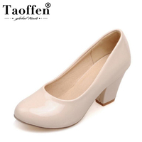 TAOFFEN Size 32 48 9 Colors women High Heels shoes Round Toe Patent Leather Thick High Shoes Women Pumps classic Dress Footwears