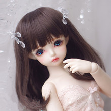 цена на Doll wigs dark brown color medium-length pear curly wigs available for 1/8 1/6 1/4 1/3 BJD SD DD MDD doll accessories