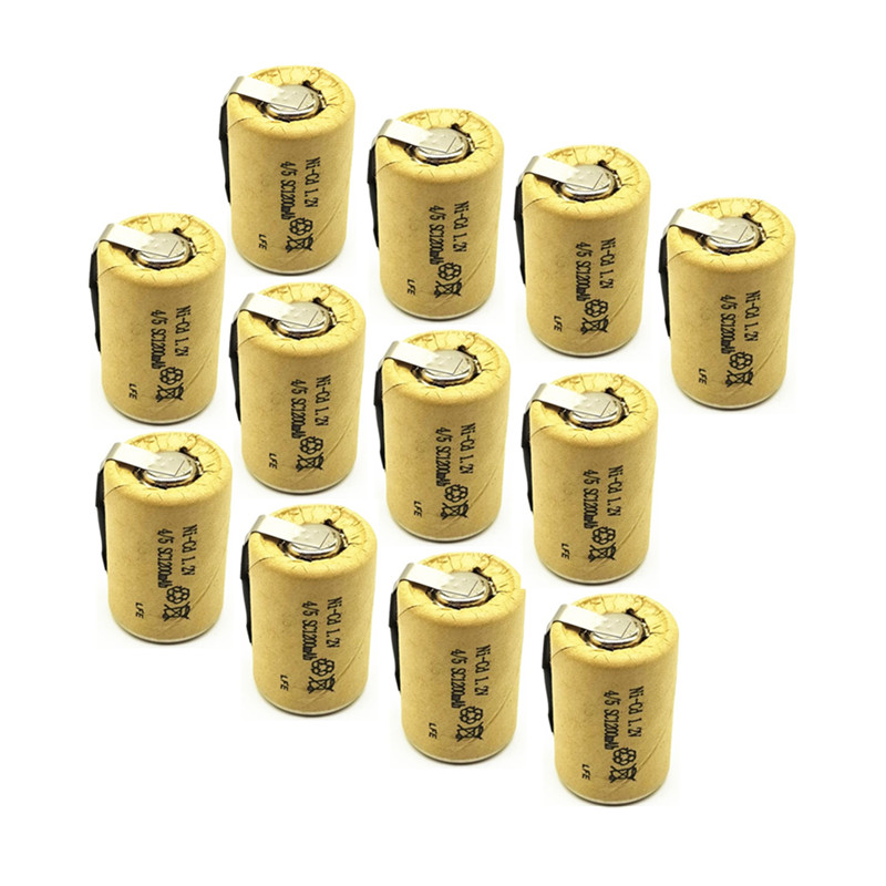 12/lot  High Quality Battery Rechargeable Battery Sub Battery 4/5 SC Ni-Cd Battery 1.2 V With Tab 1200 MAh For Electric Tool