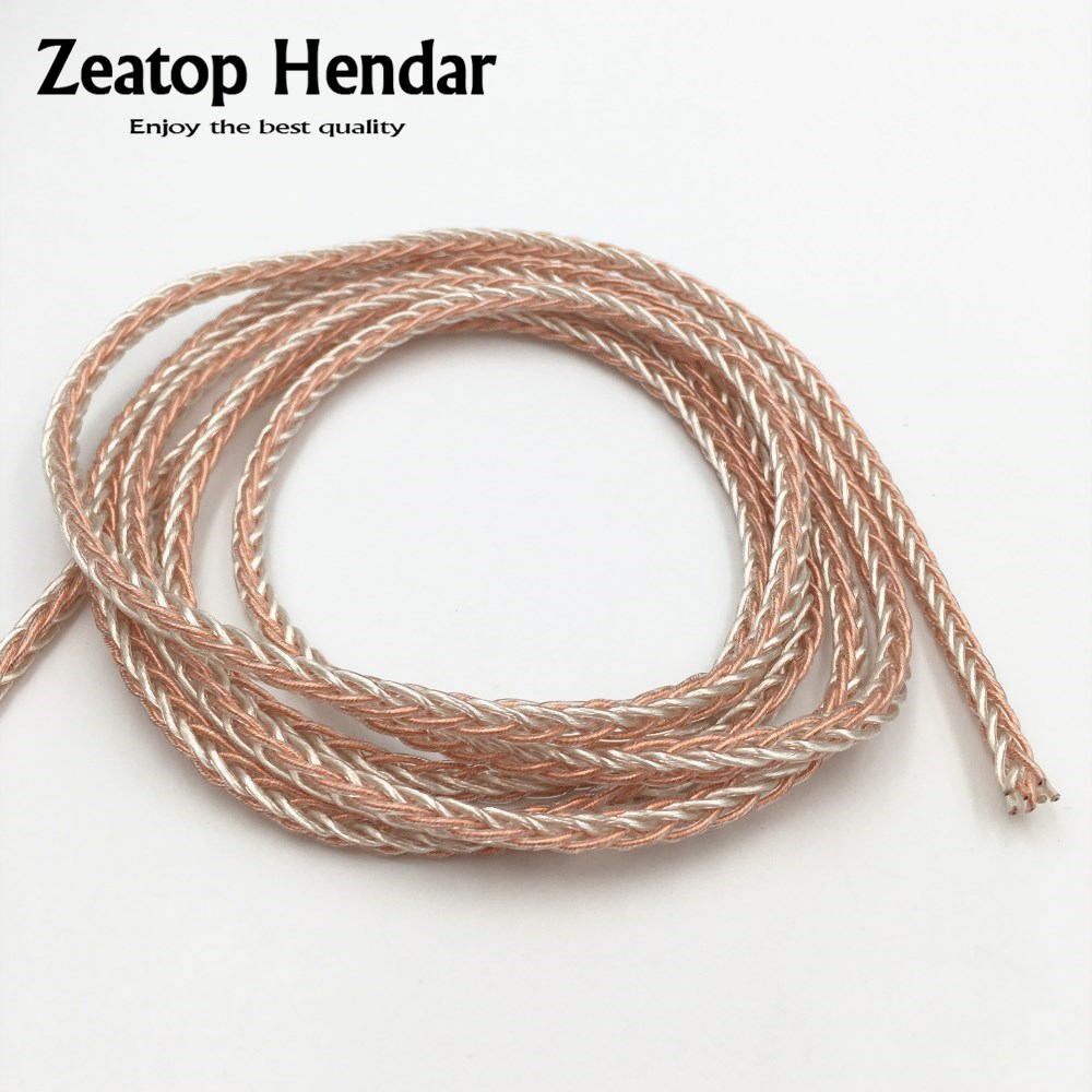 8core High Purity Occ copper Silver Wire DIY headphone Audio Cable AUX