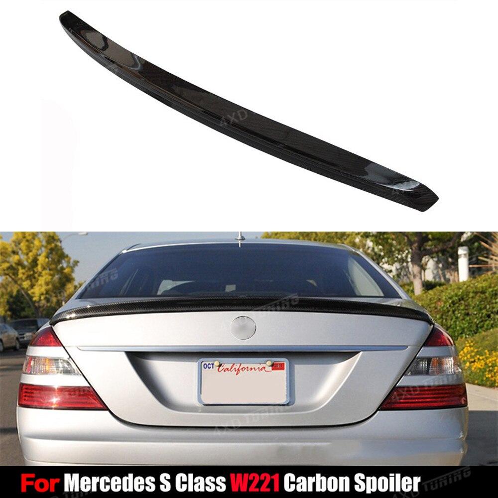 цена на For Mercedes W221 Carbon Spoiler Sedan S Class S250 S300 S500 W221 Carbon Fiber Rear Spoiler Rear Trunk Wing 4-doors 2007 - 2013