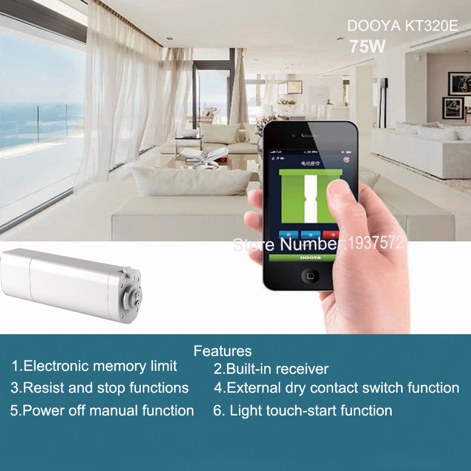 4-Original Dooya Home Automation Electric Curtain Motor KT320E-75W+DC92 5 Channel Emitter WIFI Control 220V50Hz 75W IOSAndroid
