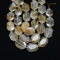Polished Yellow Quartz Loose Beads for Necklace strand,Faceted Slab Natural Stones Raw Crystals Cut Slice Beads Pendants Jewelry