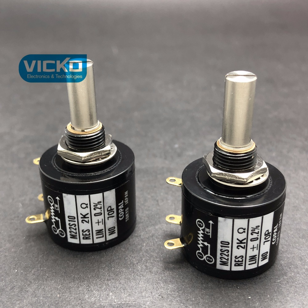 [VK] JAPAN original COPAL M22S10 1K 2K 5K 10K 20K 100K shaft diameter 6mm multi-circle potentiometer 10 turns switch w118 2w triple potentiometer 1k 10k 100k 220k 470k 1m