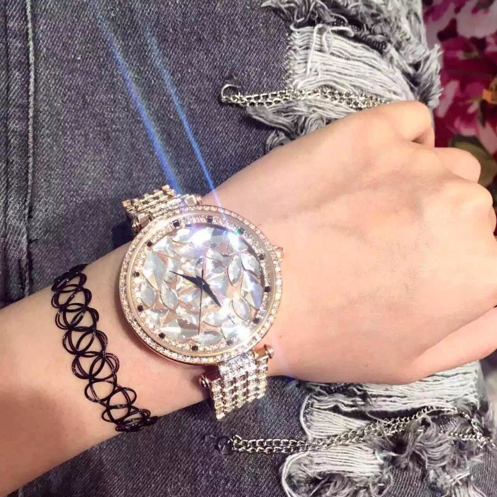 New Arrival Brand Full Crystal Watch Women Luxury Czech Stones Watch Lady Zircon Rhinestone Watch Bangle Bracelet
