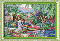 Garden Girl Counted Cross Stitch 11CT Printed 14CT Set DIY Chinese Cotton Cross Stitch Kit Embroidery