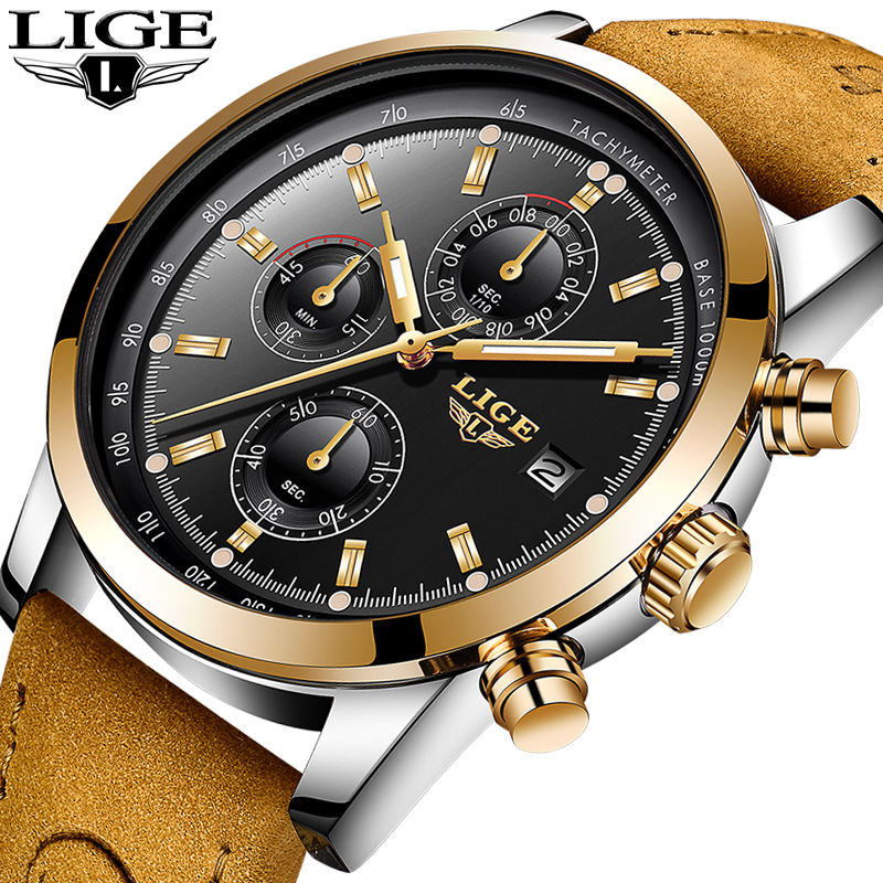где купить 2018 New LIGE Mens Watch Top Brand Luxury Leather Casual Quartz Wristwatch Man Military Sport Waterproof Clock Relogio Masculino дешево