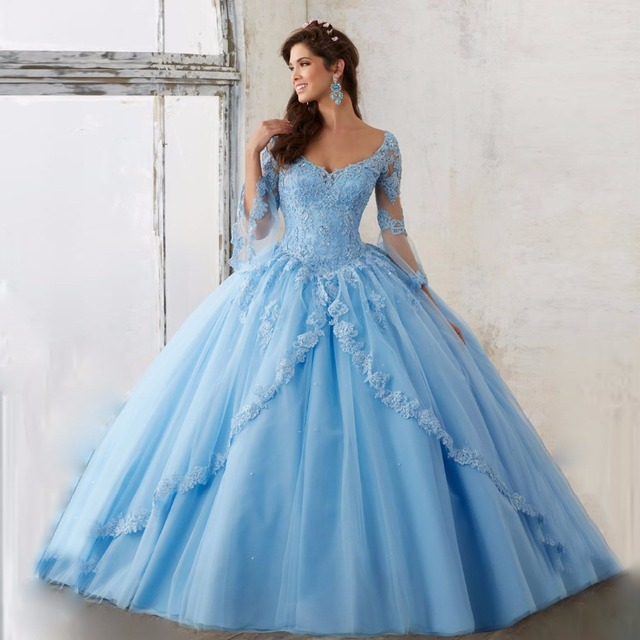 2017 Céu Azul de Manga Longa Elegante vestido de Baile Quinceanera Meninas vestidos com Apliques de Renda Vestidos De 15 Anos Doce 16 vestidos