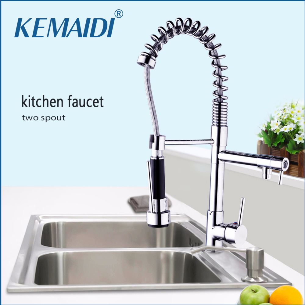 KEMAIDI 360 Swivel Kitchen Basin Sink Faucet Pull Out Spout Two Spout Hot & Cold Mixer Deck Mounted Vessel Sink Mixer Basign Tap 360 hot double handles free brass water kitchen faucet swivel spout pull out vessel sink ceramic mixer tap mf 284 faucet