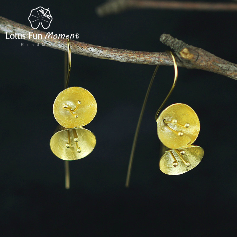 все цены на Lotus Fun Moment Real 925 Sterling Silver Natural Handmade Fashion Jewelry Vintage Petunia Flower Drop Earrings for Women онлайн