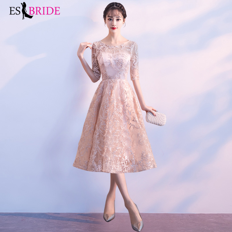 Robe De Soiree Sexy O-neck A-line Tulle Short Sleeve Evening Dresses Long 2019 New Arrival Wedding Guest Party Gowns ES1684