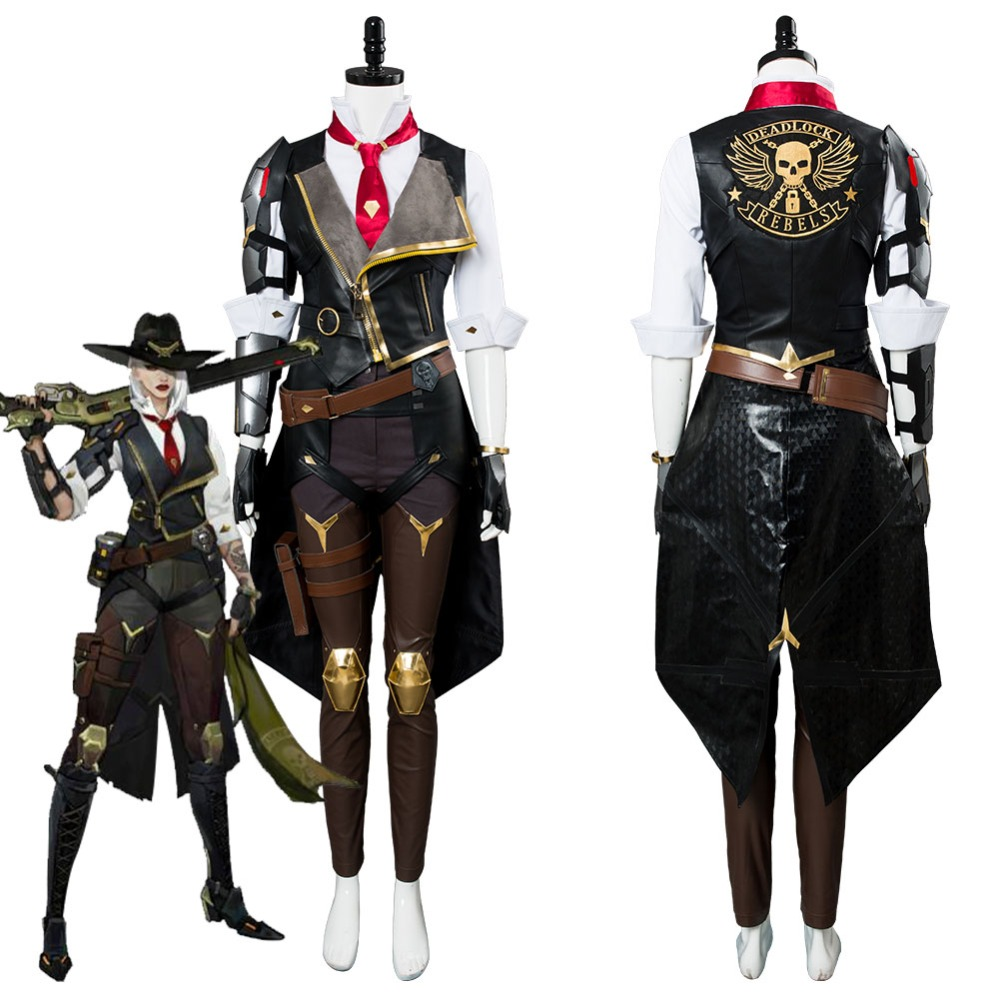 OW Ashe Cosplay Costume Elizabeth Caledonia Cosplay Ashe Shoes Outfit Full Suit For Adult Women Halloween Carnival Costumes