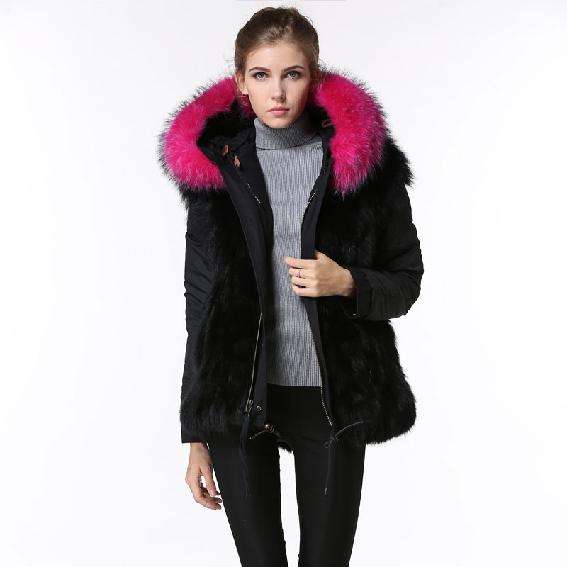 chaude rose renard fourrure parka dames v tements d 39 hiver noir manteaux avec fourrure de renard. Black Bedroom Furniture Sets. Home Design Ideas