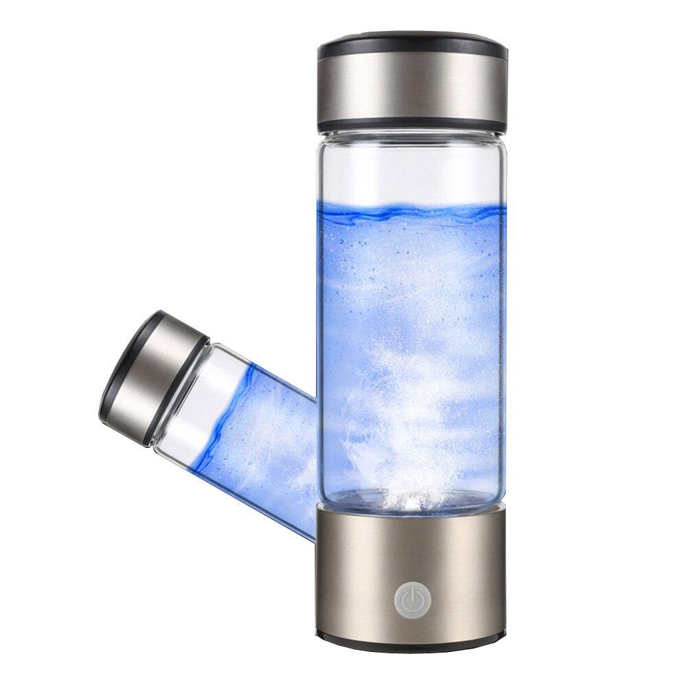 DMWD USB Rechargeable Riche Générateur D'hydrogène De L'eau Électrolyse D'hydrogène-riche Antioxydant ORP H2 Ioniseur D'eau Bouteille En Verre Tasse
