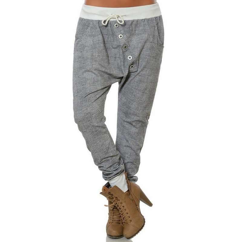 Laamei Casual A Vita Alta Pantaloni stile harem Allentato Fasciatura Solido Pantaloni Lunghi Delle Donne di Base La Corda di Trazione Pantalon Sport Più I Pantaloni di Formato