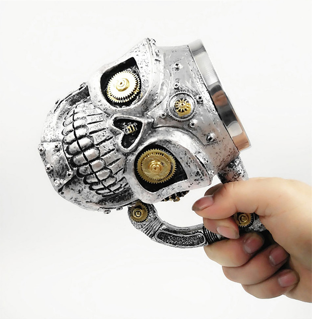 New Skull Mug Double Wall Stainless Steel 3D Skull Mugs Coffee Tea Bottle Mug Skull Knight Tankard Drinking Cup 1