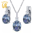 GemStoneKing 6.98 Ct Cassiopeia Mystic Topaz White Topaz  Women Fashion Jewelry Sets 925 Sterling Silver Pendant Earrings Set