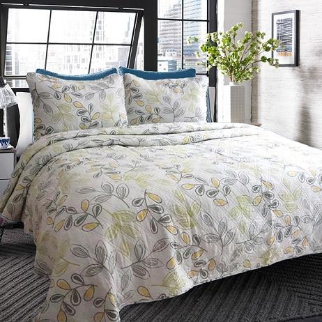 unique yellow leaf floral cotton quilting quilt waterwash ... : hotel quilts - Adamdwight.com