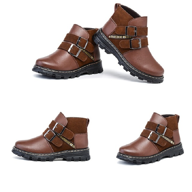 New winter children's shoes baby boy shoes genuine leather snow short boots  winter warm shoes slippoof and waterproof shoes