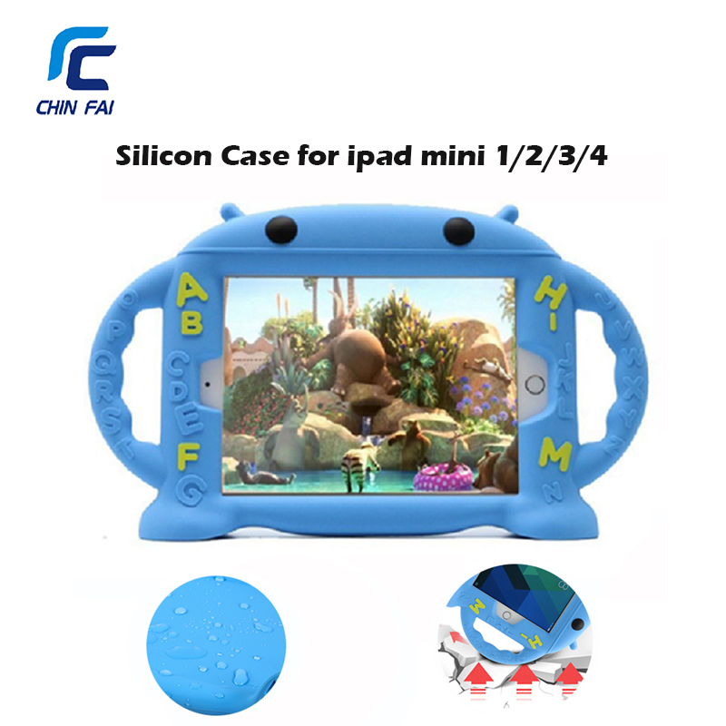 Free Shipping Shockproof Silicone Kid Baby Safe Case for iPad Mini 1 2 3 4 Handles Stand Soft Cover Tablet Case for iPad mini 4