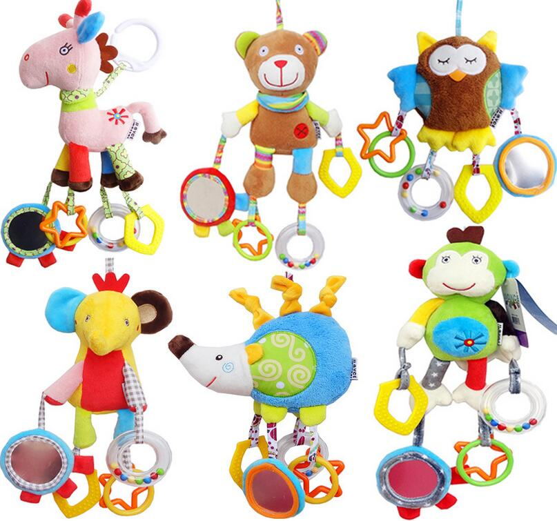 Cute Infant Stroller Bed Hanging animal Toys Handbell Rattle Mobile Teether Education Stuffed Plush Kid Toys Baby Dolls Gift