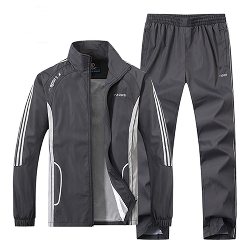 2018 New Fashion Men Sportswear 2 Piece Set Spring Autumn Sporting Suit Jacket+Pant Men Tracksuit Set Sportswear Y529