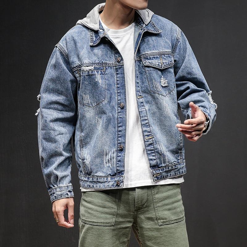 Ledingsen Mens Blue Oversized Denim Jacket Hooded Baggy -4374