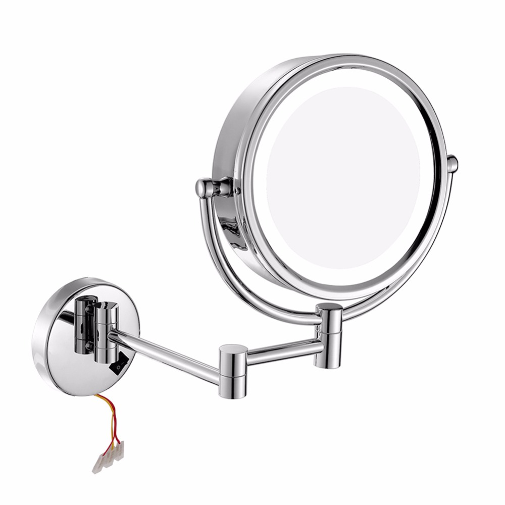 8.5 Inch LED Lighted Wall Mount Makeup Mirrors with 10x Magnification Chrome shaving vanity cosmetic compact mirror with lights they do it with mirrors