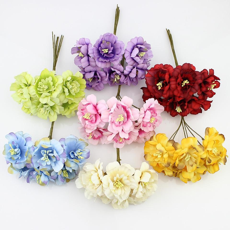 HUADODO 6pieces 5cm Artificial flowers silk Plum flower for DIY Scrapbooking wreath wedding decoration fake flowers