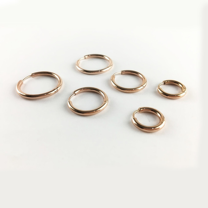 Punk Gold Stainless Steel Hoop Earrings Huggie Simple Style Circle Hoop Earring K Pop Fashion Earrings for Women Man Jewelry
