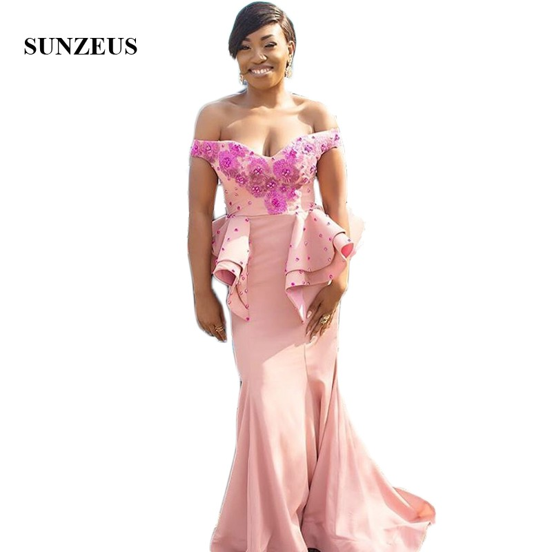 Off the Shoulder Long Sleeve African   Bridesmaid     Dresses   Pearls Handmade Flowers Charming Maid of Honor   Dresses   damigella SBD176