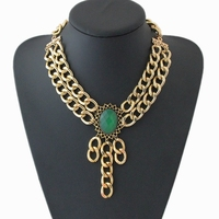 Green Big Resin Stone Chains Pendant Choker Design Chunky K Gold Plated Chain Statement Necklace For