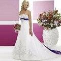 Púrpura Y Blanco Vestido de Novia 2016 del Tren del Barrido de Novia Vestidos de Novia Vestido De Noiva Casamento Robe De Mariage