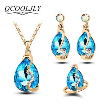 Charm Water Drop Silver Crystal Pendant Bridal Jewellery