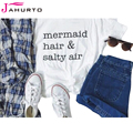 Jahurto Mermaid Hair & Salty Air T Shrit Women Fashion Funny Letter Printed Solid O Neck Casual Shirts Short Sleeve T-Shirt