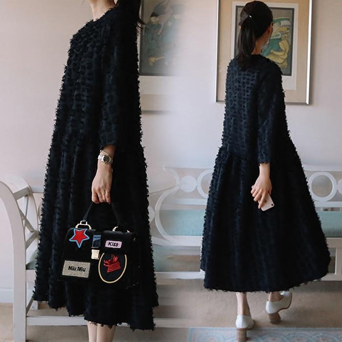 Superaen Couleur Coton Nouvelles Robe Filles De 2018 Coréen Lâche white Mode Col Unie Femme Rond Blue Style Femmes Printemps tqrXwt