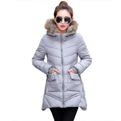 New Arrival Fashion Winter Slim Long Sleeves Fur Hooded Collar Zipper Solid Jackets Cotton Padded Mid-Long Women Coat H6234 new arrival fashion korean slim long sleeves hooded collar zippers thickening mid long cotton wadded overcoat women coat h5812