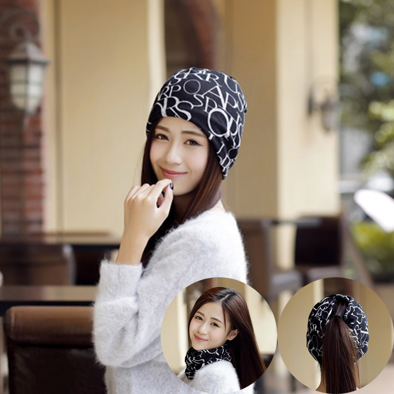 Hot Sale New 2 Use Cap Knitted Scarf Fall Hats for Women Letter Print Beanies Hip Hop Skullies Girls Gorros Beanie skullies hot sale candy colored knit cap sleeve head cap hip hop tide baotou cap 1866717